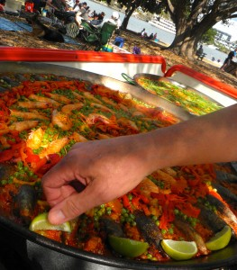 Paella with Lime Garnish
